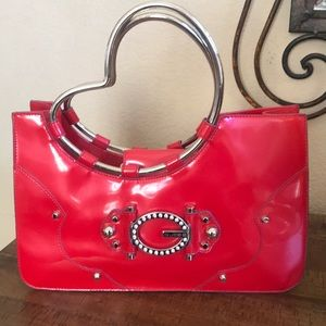Guess red patent 80 s bag